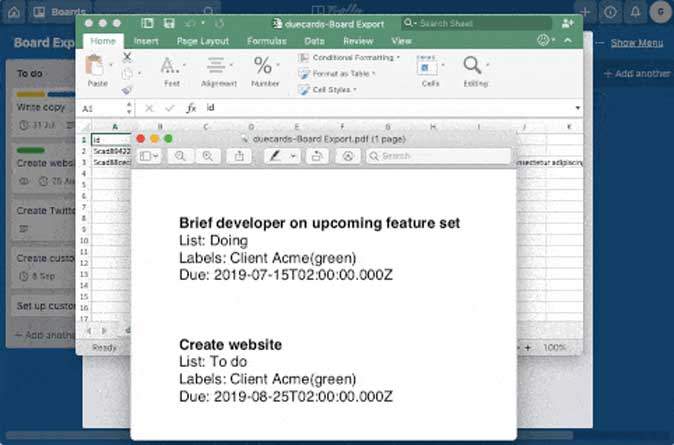 Due Next power for trello to pull data in excel sheet