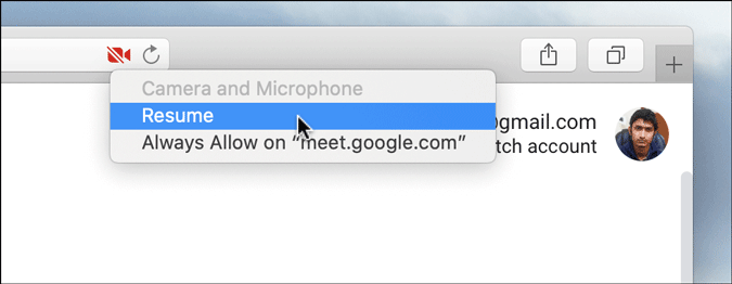 allow camera for google meet in apple safari