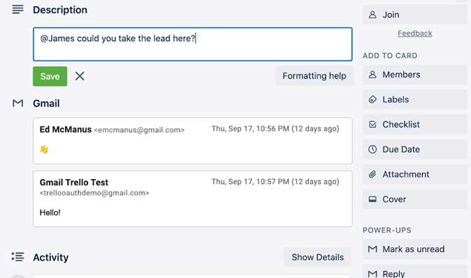 reply to your emails from within the cards using Gmail Trello Power-Up