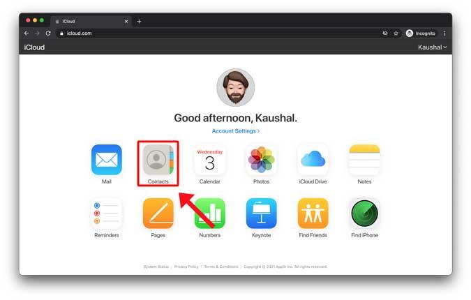 contacts app on icloud webapp