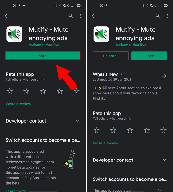 install mutify app from google play store