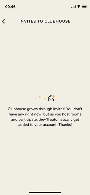 Invitie page in the Clubhouse app