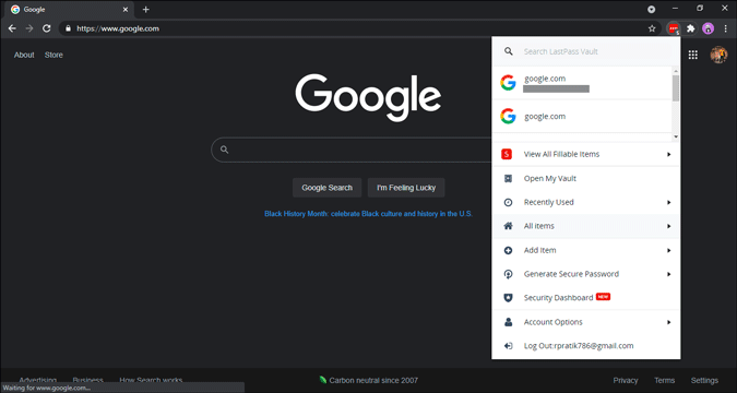 lastpass extension window in chrome