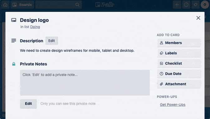 private notes trello power up