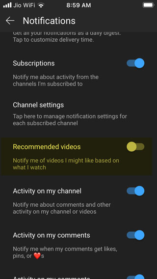 disable youtube recommended videos notifications on ios