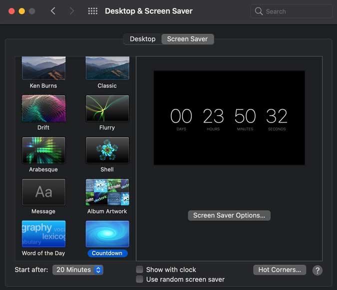 countdown screensaver- countdown on the black screen mac