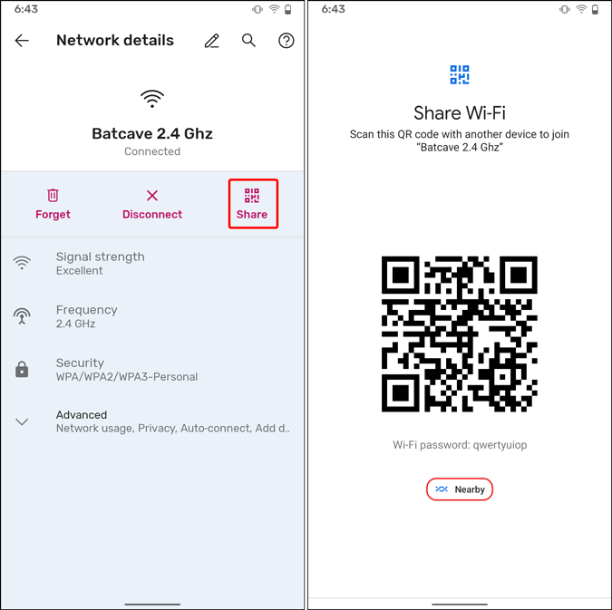 share wifi password via nearby share