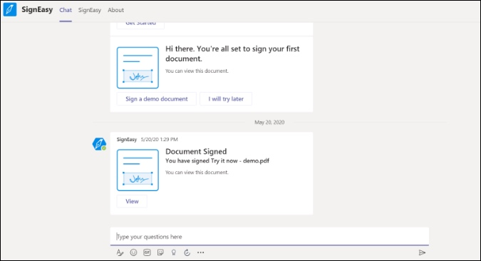 signeasy for microsoft teams