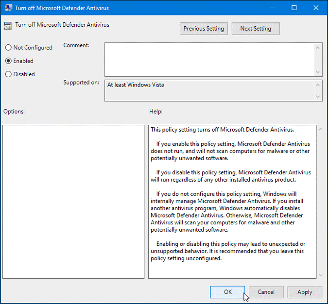 disable microsoft defender antivirus on windows 10