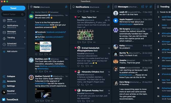 tweetdeck with multiple columns on mac