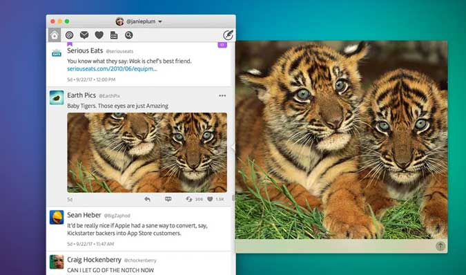 twitterrific app for mac with PIP mode