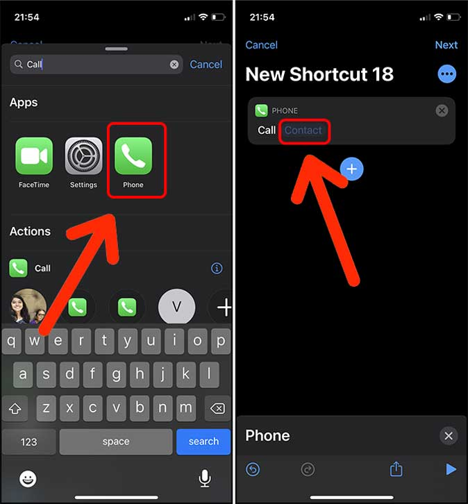 select Call or FaceTime action in Shortcuts on ios