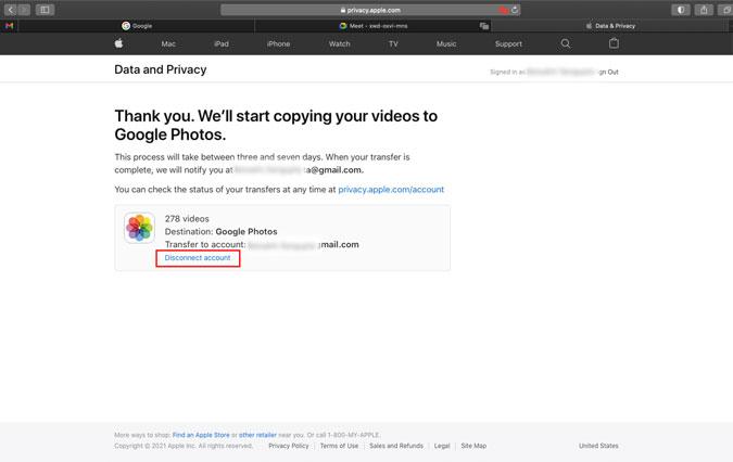 Cancel iCloud to Google Photos transfer