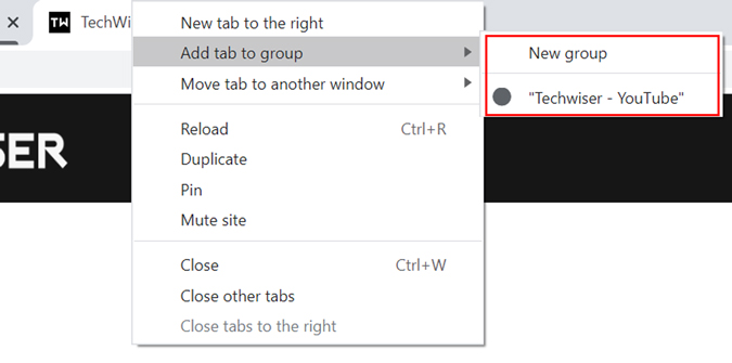 Chrome's tab group option