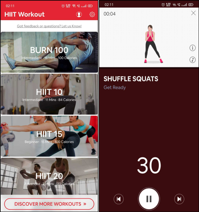 hiit wokrouts and timer app ui