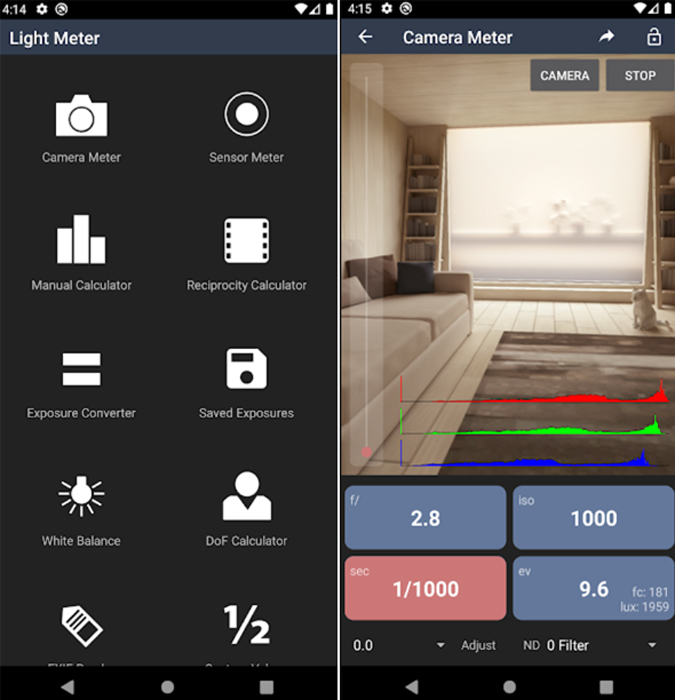 light meter ui on android