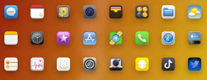 textured icons for iphone- ios 14 icon pack