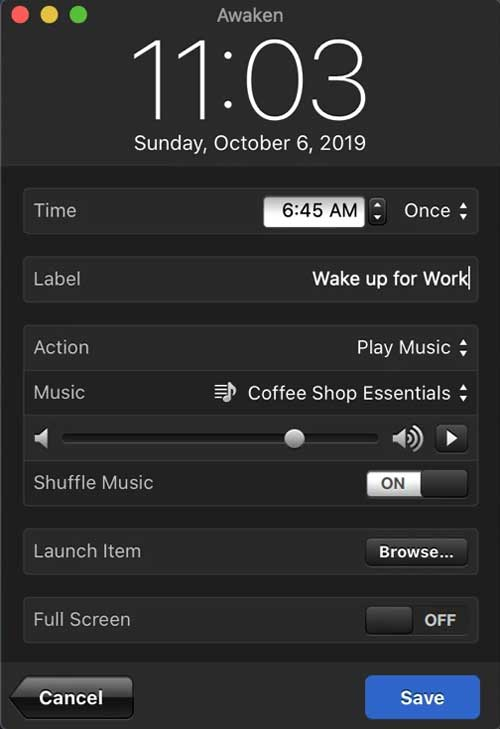 awaken app- alarm app for mac that opens apps when alarm goes off