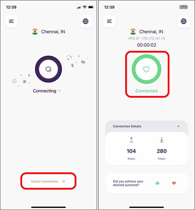 disconnect and reconnect vpn on iPhone