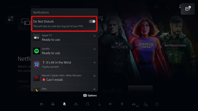 enable do not disturb on PS5 Notification panel