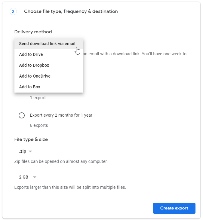 google takeout download method frequency settings