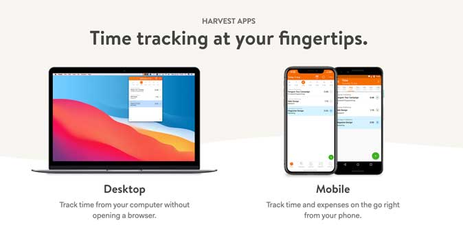 harvest apps available on desktop and mobile