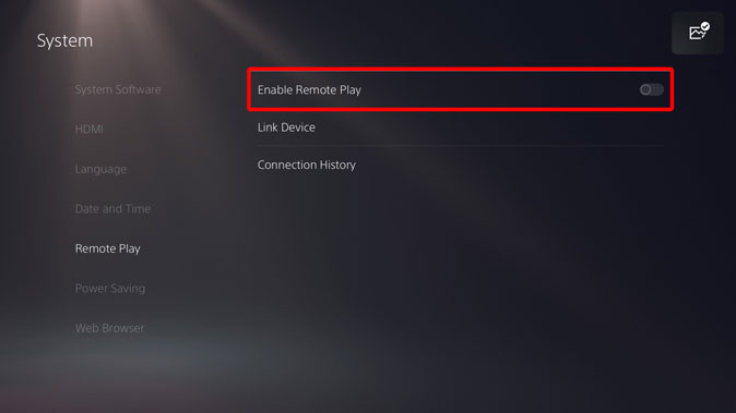 enable remote play on PS5
