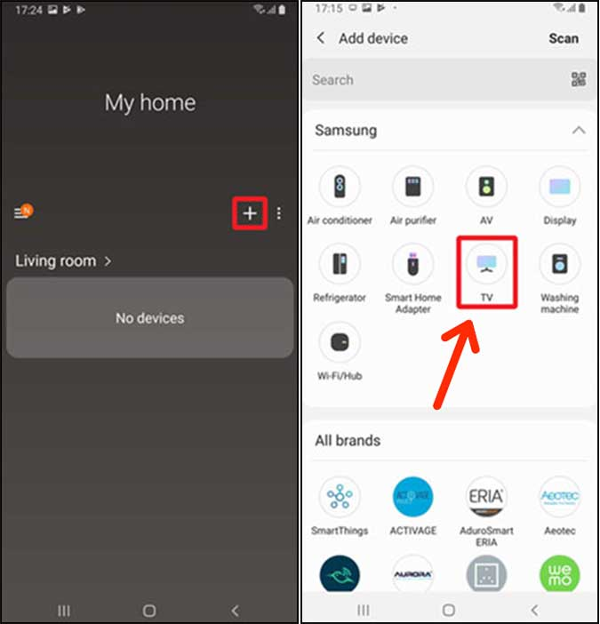find your Samsung TV on the SmartThings app