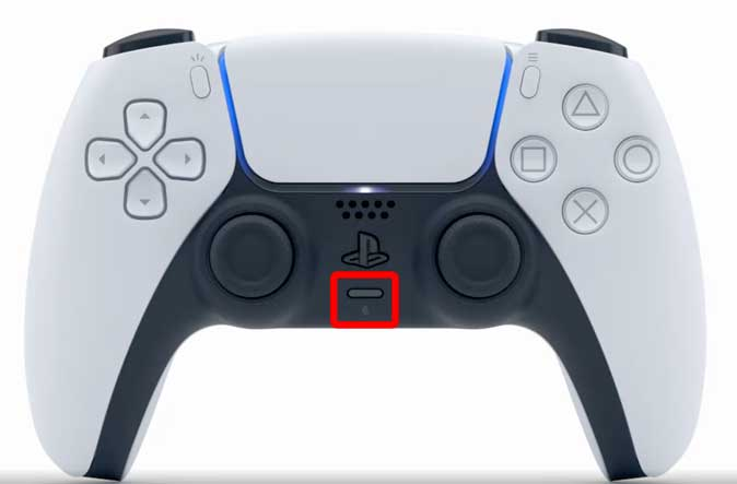 mute button on the  dual shock controller on ps5