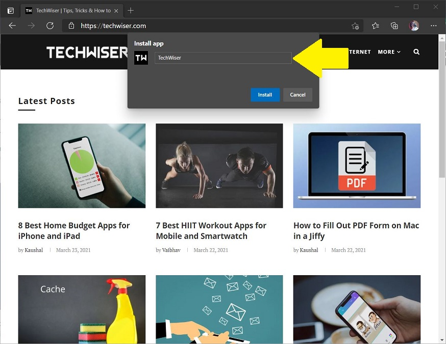 giving web app name on edge browser
