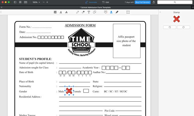 add stamps to PDF form using PDF Expert