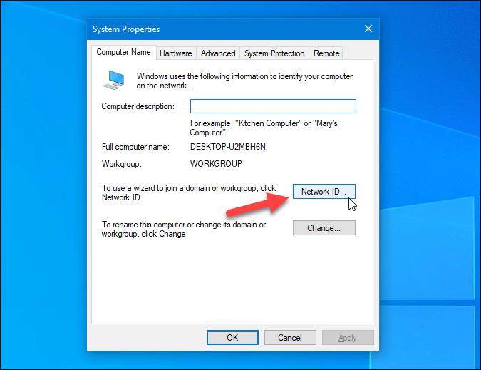 open network id settings on windows 10