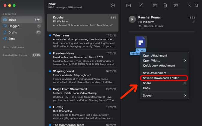 save PDF to downloads folder on Mac