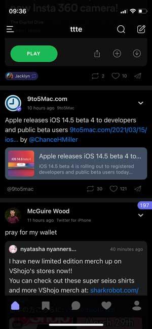 ttte- dark mode twitter app with a tweet counter