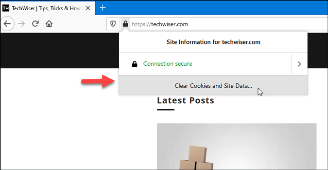 open firefox settings to clear cookies for specific website