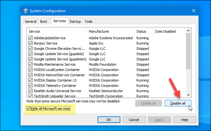 perform clean boot in windows 10