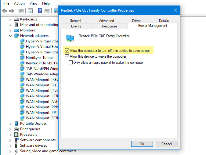 prevent computer to turn off network driver to save power