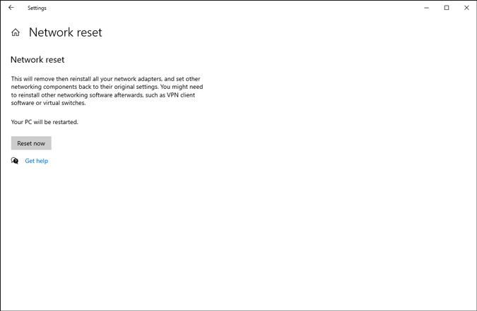 start network reset process on windows 10