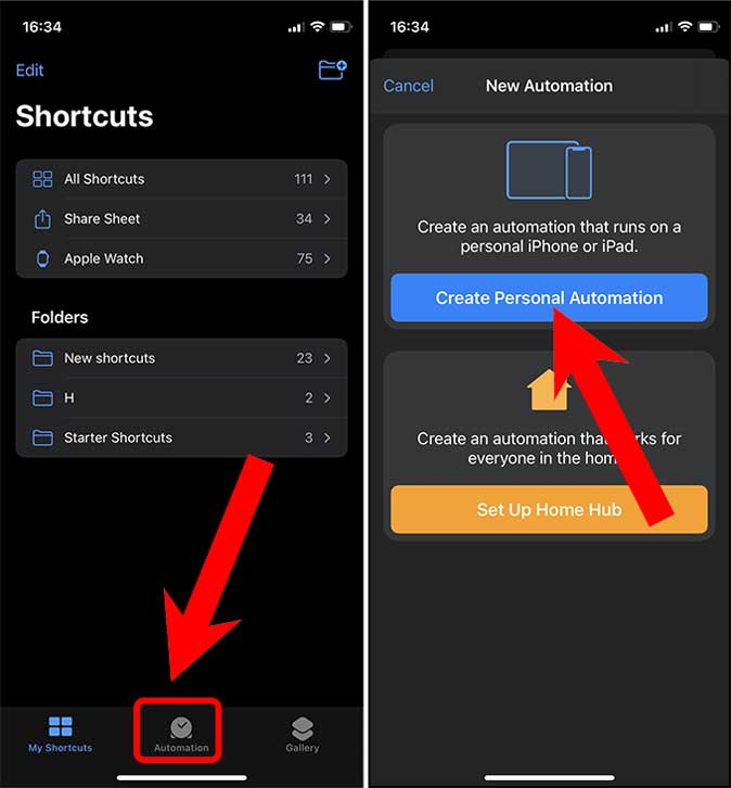 Create a Personal Automation in shortcuts app on iphone