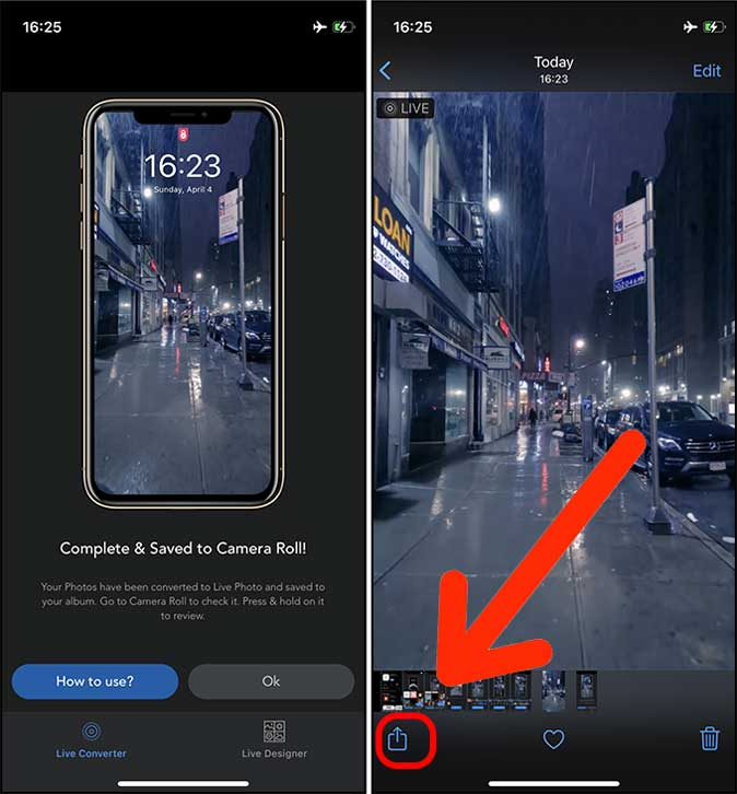 tap the share button in Photos app