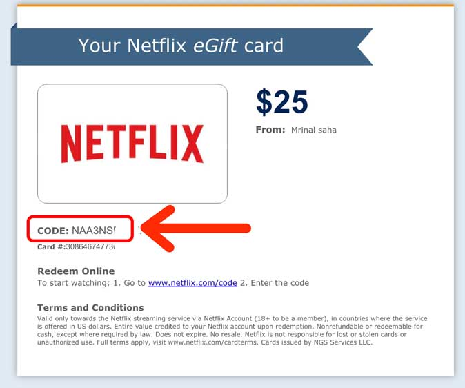 netflix gift card code in email
