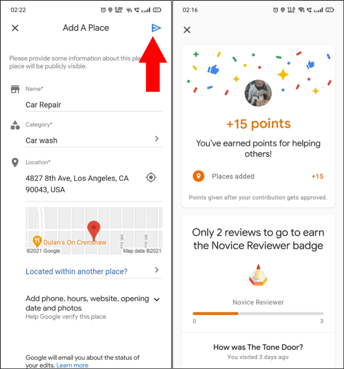 add/edit location in Google Map and earn points, rewards