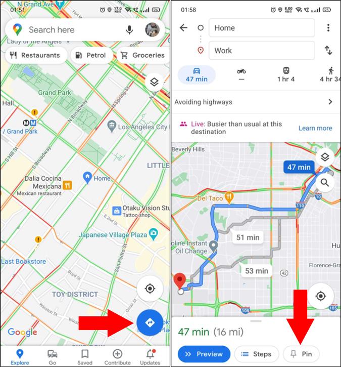 Pin a trip on Google Maps