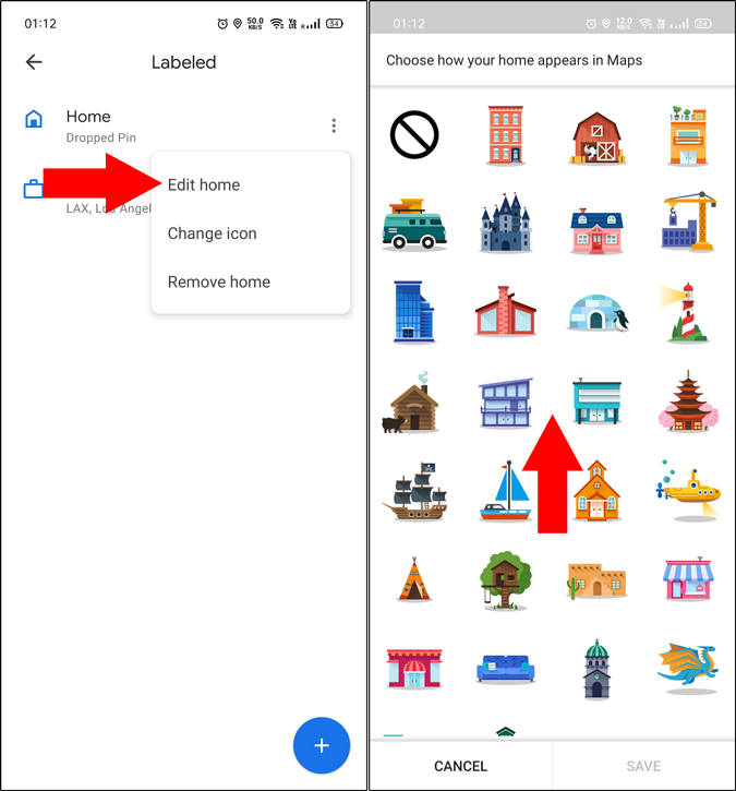 Edit home address on Google Maps