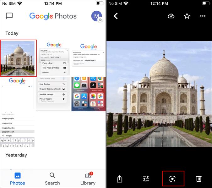 Google Photos lens feature