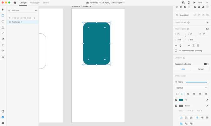 Adobe XD design window