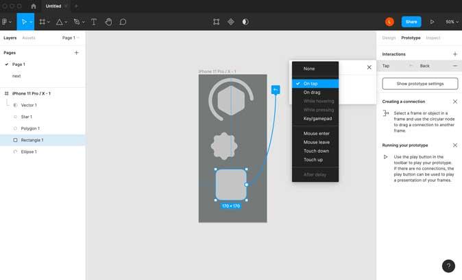 Figma Prototyping panel