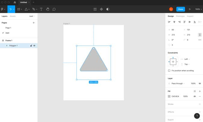 Figma user interface with intuitive layout