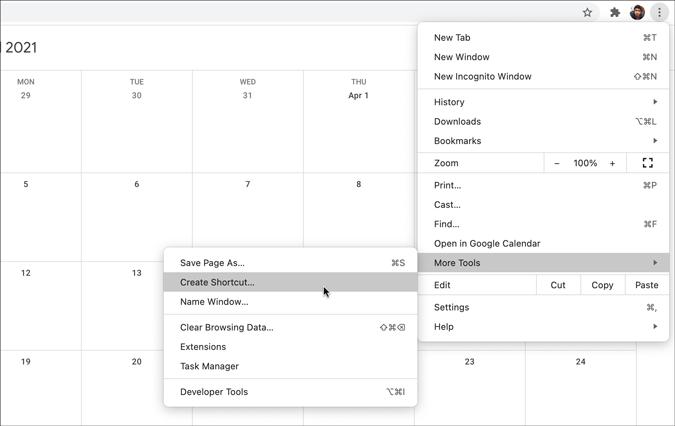 create google calendar shortcut via chrome