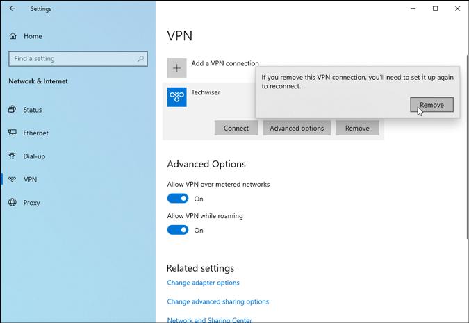 remove vpn profile from windows 10